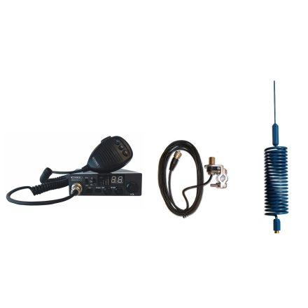 CB Radio & Antenna Kit - Moonraker Minor II Plus 80ch 12v/24v CB Radio + Blue Mini Tornado Antenna + Rail Mount (CB Kit)