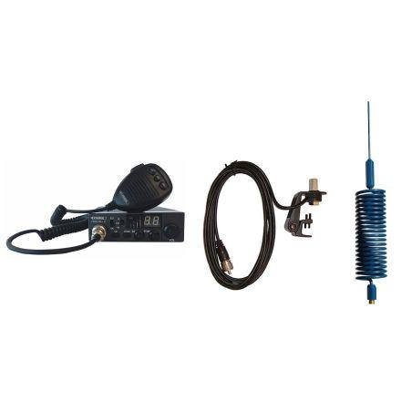 CB Radio & Antenna Kit - Moonraker Minor II Plus 80ch 12v/24v CB Radio + Blue Mini Tornado CB Antenna + Gutter Mount (CB Kit)