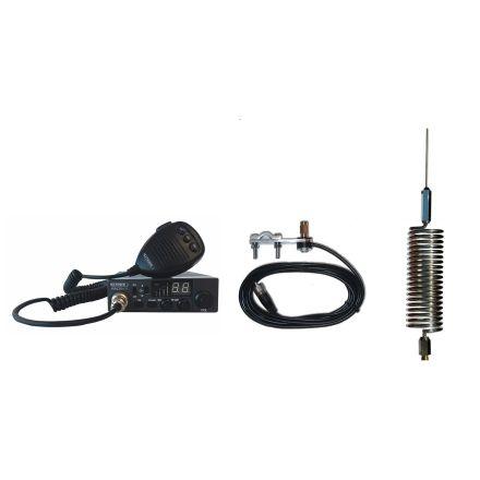 CB Radio & Antenna Kit - Moonraker Minor II Plus 80ch 12v/24v CB Radio + Chrome Mini Tornado Antenna + Mirror Mount (CB Kit)