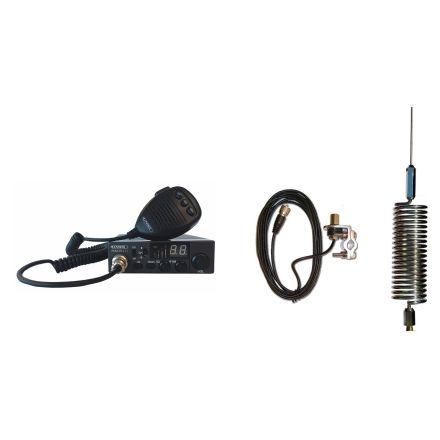 CB Radio & Antenna Kit - Moonraker Minor II Plus 80ch 12v/24v CB Radio + Chrome Mini Tornado Antenna + Rail Mount (CB Kit)