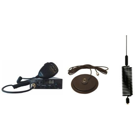 "CB Radio & Antenna Kit - Moonraker Minor II Plus 80ch 12v/24v CB Radio + Black Mini Tornado CB Antenna + 7"" Mag Mount (CB Kit)"
