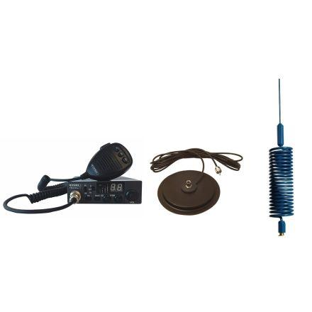 "CB Radio & Antenna Kit - Moonraker Minor II Plus 80ch 12v/24v CB Radio + Blue Mini Tornado Antenna + 7"" Mag Mount (CB Kit)"