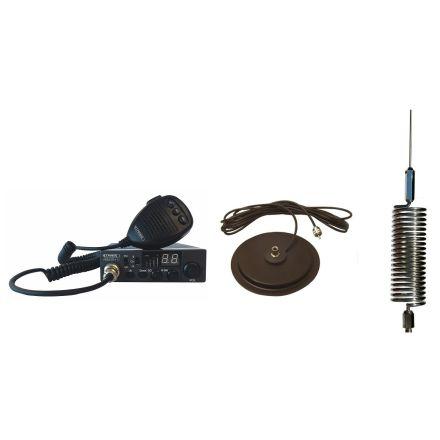 "CB Radio & Antenna Kit - Moonraker Minor II Plus 80ch 12v/24v CB Radio + Chrome Mini Tornado CB Antenna + 7"" Mag Mount (CB Kit)"