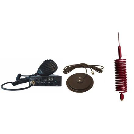 "CB Radio & Antenna Kit - Moonraker Minor II Plus 80ch 12v/24v CB Radio + Red Mini Tornado CB Antenna + 7"" Mag Mount (CB Kit)"
