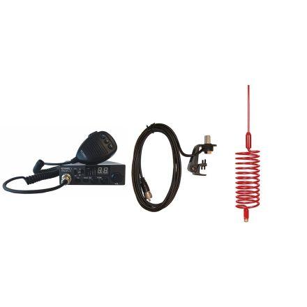 CB Radio & Antenna Kit - Moonraker Minor II Plus 80ch 12v/24v CB Radio + Red Tornado Antenna + Gutter Mount (CB Kit)