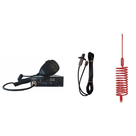 CB Radio & Antenna Kit - Moonraker Minor II Plus 80ch 12v/24v CB Radio + Red Tornado Antenna + Roof Stud Mount (CB Kit)