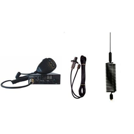 CB Radio & Antenna Kit - Moonraker Minor II Plus 80ch 12v/24v CB Radio + Black Mini Tornado CB Antenna + Roof Stud Mount (CB Kit)
