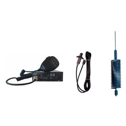 CB Radio & Antenna Kit - Moonraker Minor II Plus 80ch 12v/24v CB Radio + Blue Mini Tornado CB Antenna + Roof Stud Mount (CB KIT)