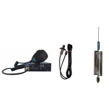 CB Radio & Antenna Kit - Moonraker Minor II Plus 80ch 12v/24v CB Radio + Chrome Mini Tornado Antenna + Roof Stud Mount (CB Kit)