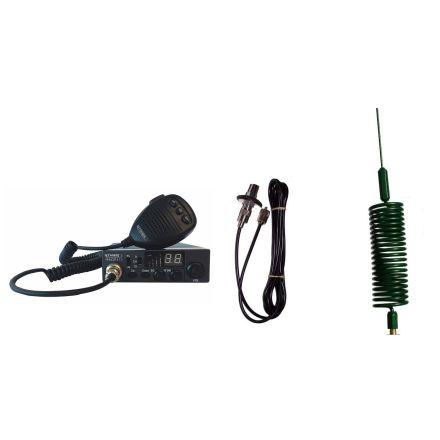 CB Radio & Antenna Kit - Moonraker Minor II Plus 80ch 12v/24v CB Radio + Green Mini Tornado CB Antenna + Roof Stud Mount (CB Kit)