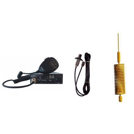 CB Radio & Antenna Kit - Moonraker Minor II Plus 80ch 12v/24v CB Radio + Yellow Mini Tornado CB Antenna + Roof Stud Mount (CB Kit)