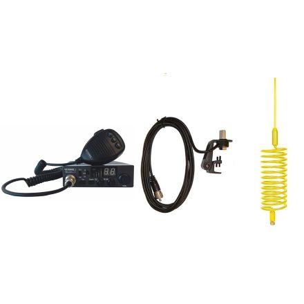 CB Radio & Antenna Kit - Moonraker Minor II Plus 80ch 12v/24v CB Radio + Yellow Tornado CB Antenna + Gutter Mount (CB KIT)