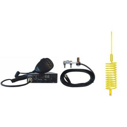 CB Radio & Antenna Kit - Moonraker Minor II Plus 80ch 12v/24v CB Radio + Yellow Tornado CB Antenna + Mirror Mount (CB KIT)
