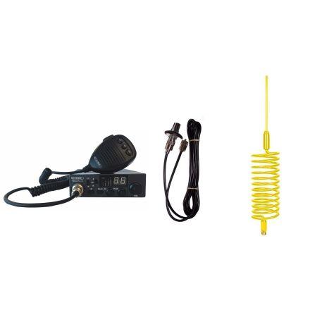 CB Radio & Antenna Kit - Moonraker Minor II Plus 80ch 12v/24v CB Radio + Yellow Tornado CB Antenna + Roof Stud Mount (CB KIT)