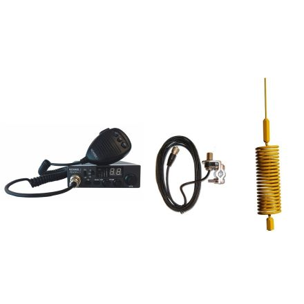 CB Radio & Antenna Kit - Moonraker Minor II Plus 80ch 12v/24v CB Radio + Yellow Mini Tornado CB Antenna + Rail Mount (CB Kit)