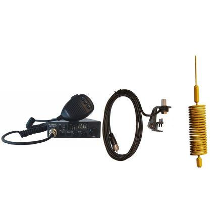 CB Radio & Antenna Kit - Moonraker Minor II Plus 80ch 12v/24v CB Radio + Yellow Mini Tornado CB Antenna + Gutter Mount (CB Kit)