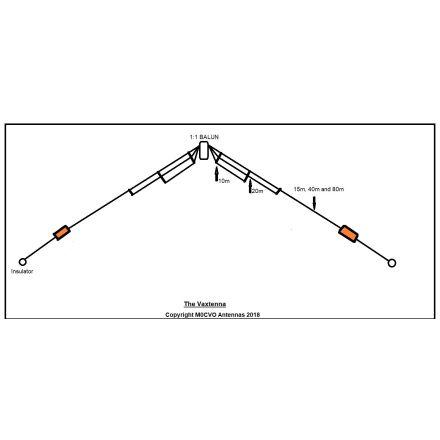 M0CVO VAX-1 VAXTENNA 5 BAND LOADED DIPOLE 80/40/20/15/10M